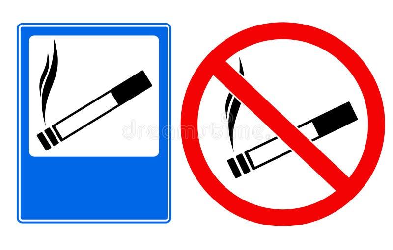 Het roken gebied en nr - het roken zingt stock illustratie