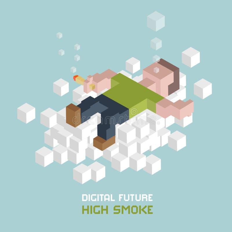 Het roken marihuanaontspanning op wolk Mens met mj verbinding Recreatief, medisch cannabisgebruik Hoge rook Kubussensamenstelling vector illustratie
