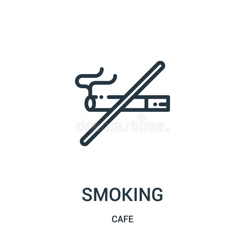 het roken pictogramvector van koffieinzameling Dunne het pictogram vectorillustratie van het lijn rokende overzicht Lineair symbo stock illustratie