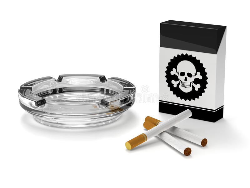 Het roken van het einde campagne, Sigaretten, Asbakje, Sigarenkistje vector illustratie