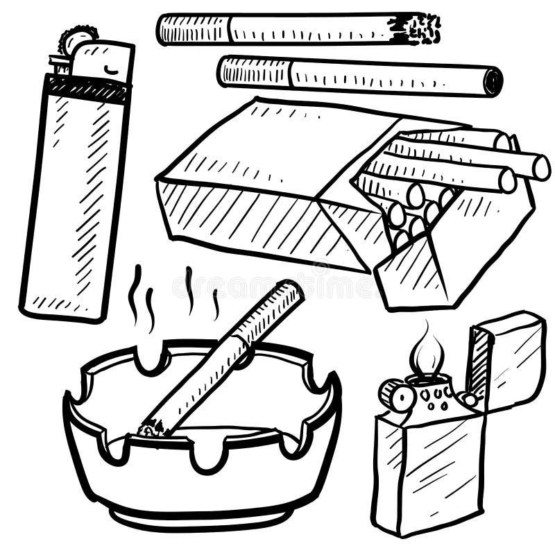Het roken van sigarettenobjecten schets vector illustratie