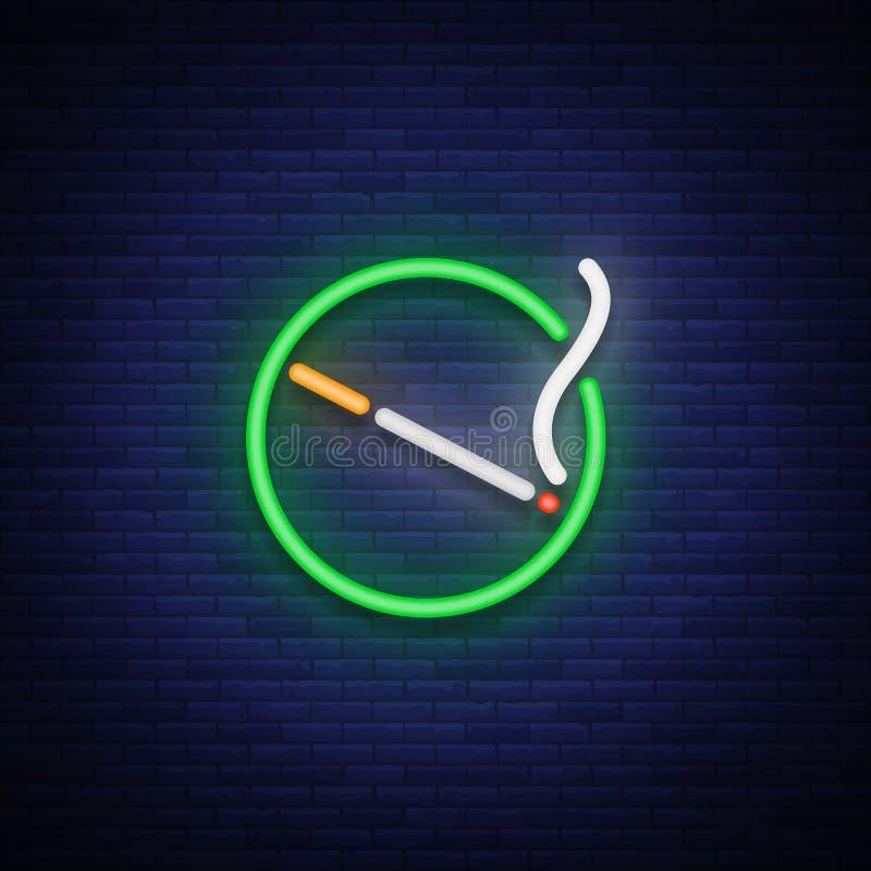 Het rokende teken van het gebiedsneon Het neonsymbool, een lichtgevend teken is een plaats voor het roken Helder uithangbord Vect royalty-vrije illustratie