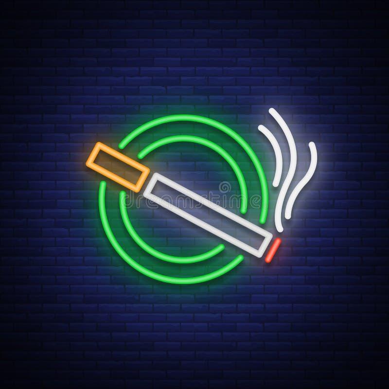 Het rokende teken van het gebiedsneon Het neonsymbool, een lichtgevend teken is een plaats voor het roken Helder uithangbord Vect vector illustratie