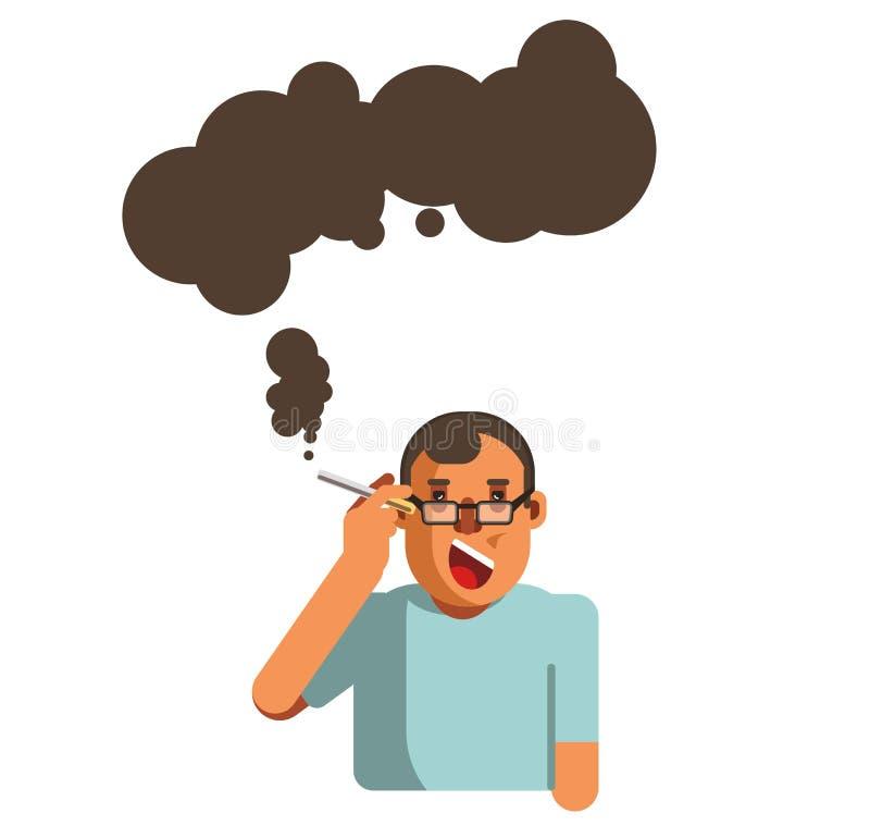 Het rokende van het de ziekterisico van de sigaretgezondheid van de hersenenilness vector vlakke pictogram stock illustratie