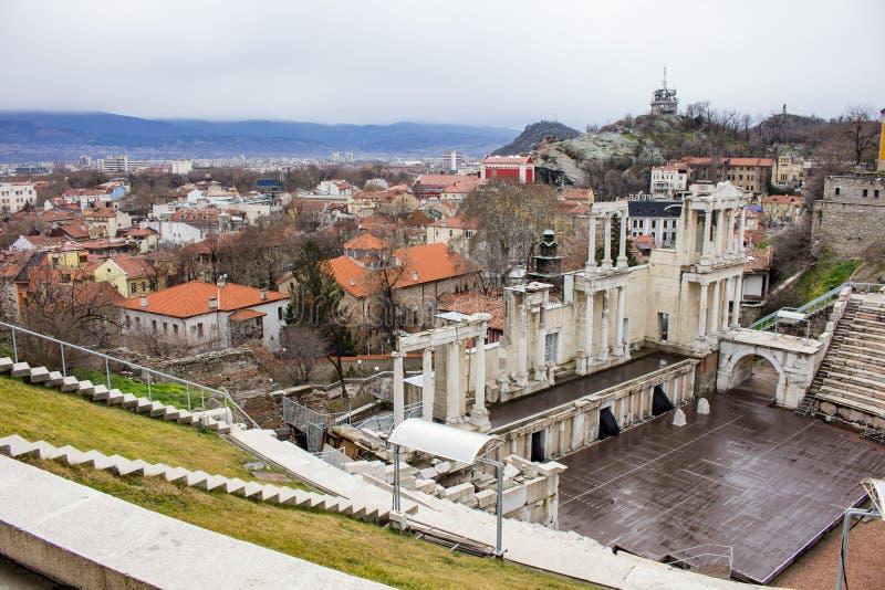 Het Roman theater in de stad van Plovdiv, Bulgarije stock foto's