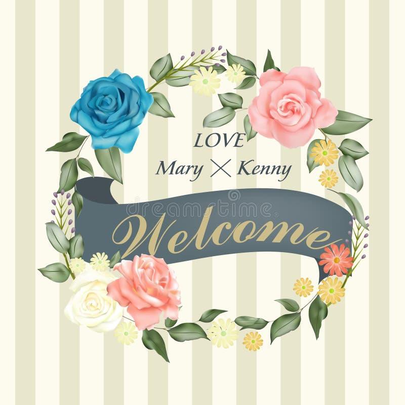 Het romantische bloemenontwerp van de huwelijksuitnodiging stock illustratie