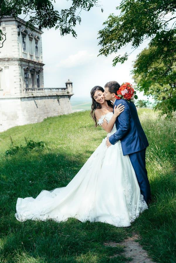 Het romantische huwelijksschot van gemiddelde lengte van de knappe bruidegom die de gogeous glimlachende bruid in wang in het par stock foto