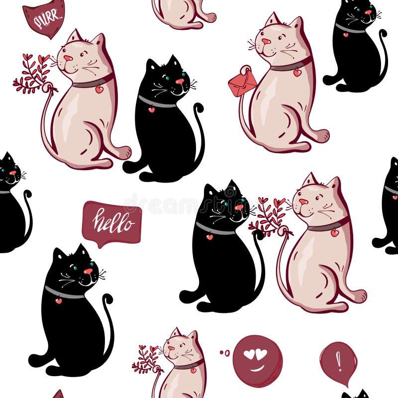 Het romantische leuke zwarte witte grappige katten zoete naadloze patroon, de kaartachtergrond van de huwelijksuitnodiging, illus vector illustratie
