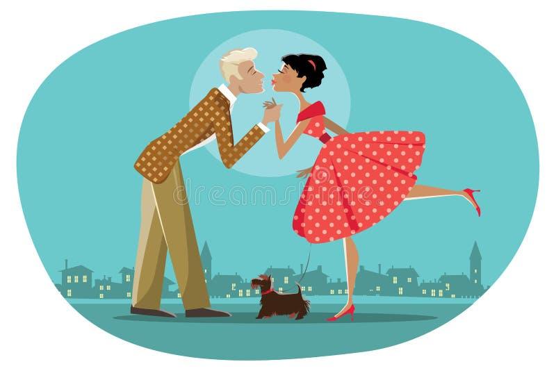 Het romantische retro paar kussen royalty-vrije illustratie