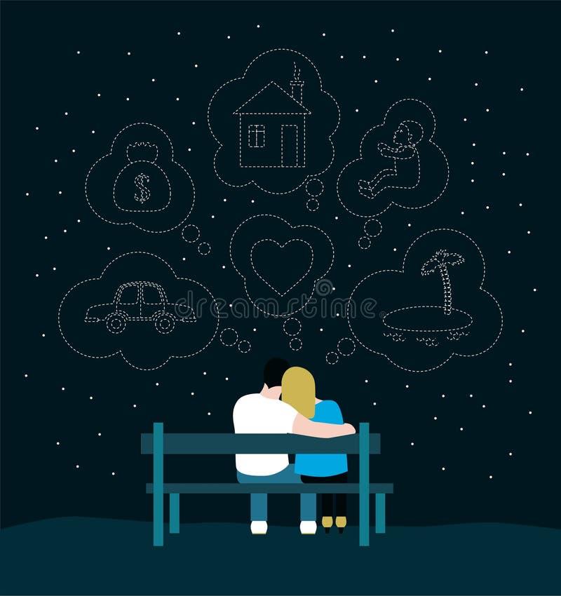 Het romantische silhouet van het houden van van paar zit op een bank en een droom vector illustratie