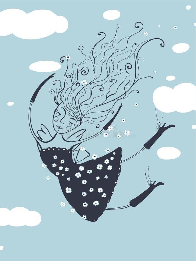 Download Het Romantische Vliegende Mooie Beeldverhaal Van Het Meisje Vector Illustratie - Illustratie bestaande uit schoonheid, aantrekkingskracht: 29504602