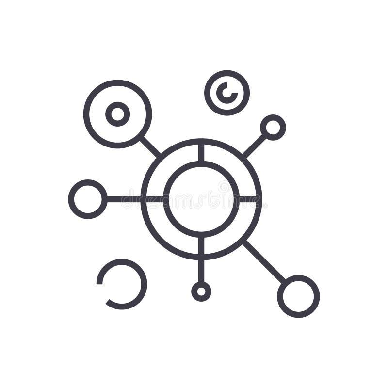 Het rond gemaakte pictogram van de diagram vectorlijn, teken, illustratie op achtergrond, editable slagen royalty-vrije illustratie