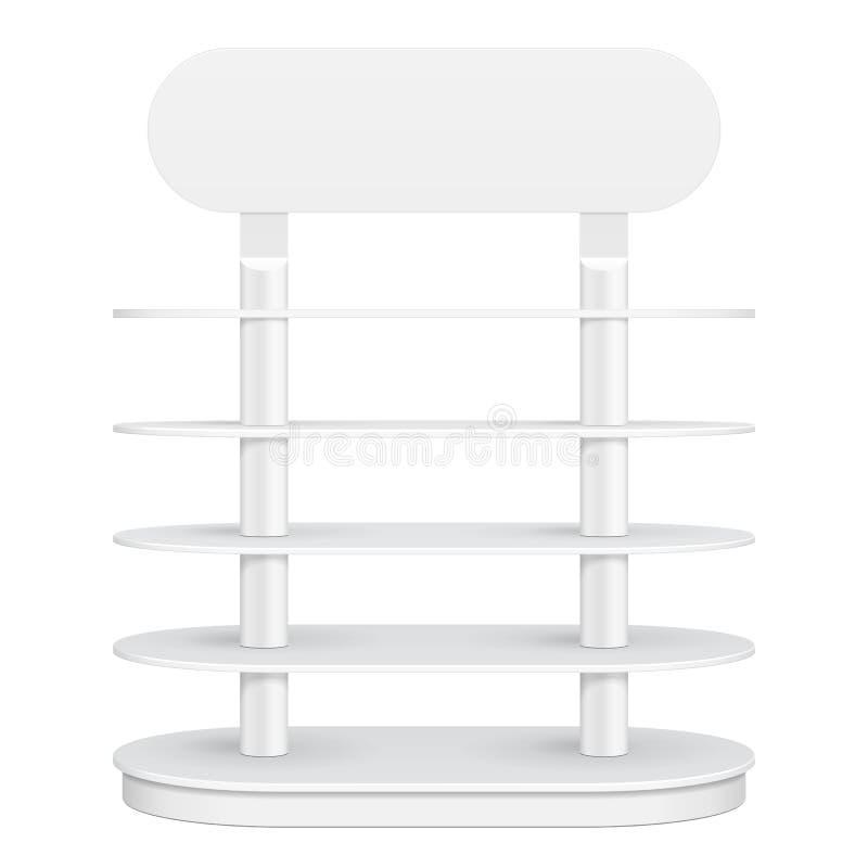 Het rond gemaakte Rek van de Vloervertoning voor Supermarkt Leeg met Planken 3d Front View spot omhoog, malplaatje Vector eps10 royalty-vrije illustratie