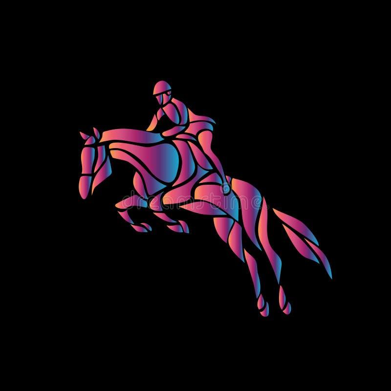 Het rond maken van de Draai Ruiter sport Silhouet van het rennen met jockey royalty-vrije illustratie