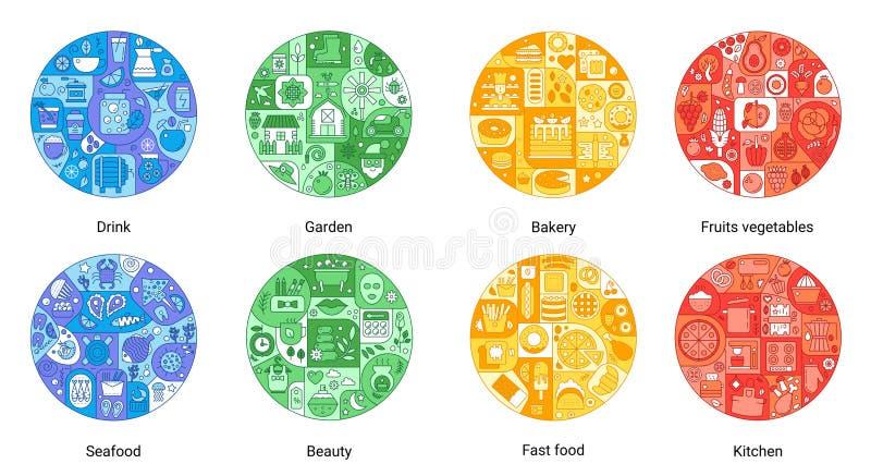 Het ronde concept van de kleuren vlakke lijn bakkerij, drank, schoonheid, snel voedsel, keuken, zeevruchten, vruchten groenten, t vector illustratie