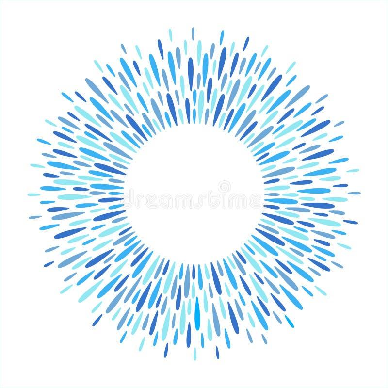 Het ronde die kader van spat, plons wordt gemaakt, ploetert of waterdalingen stock illustratie