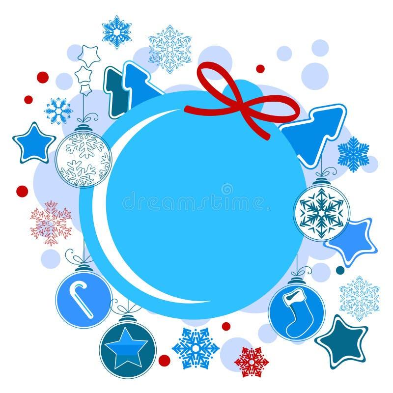 Het ronde etiket van Kerstmis   vector illustratie