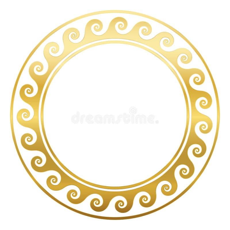 Het ronde Griekse Patroon van Kader Gouden Spiralen stock illustratie