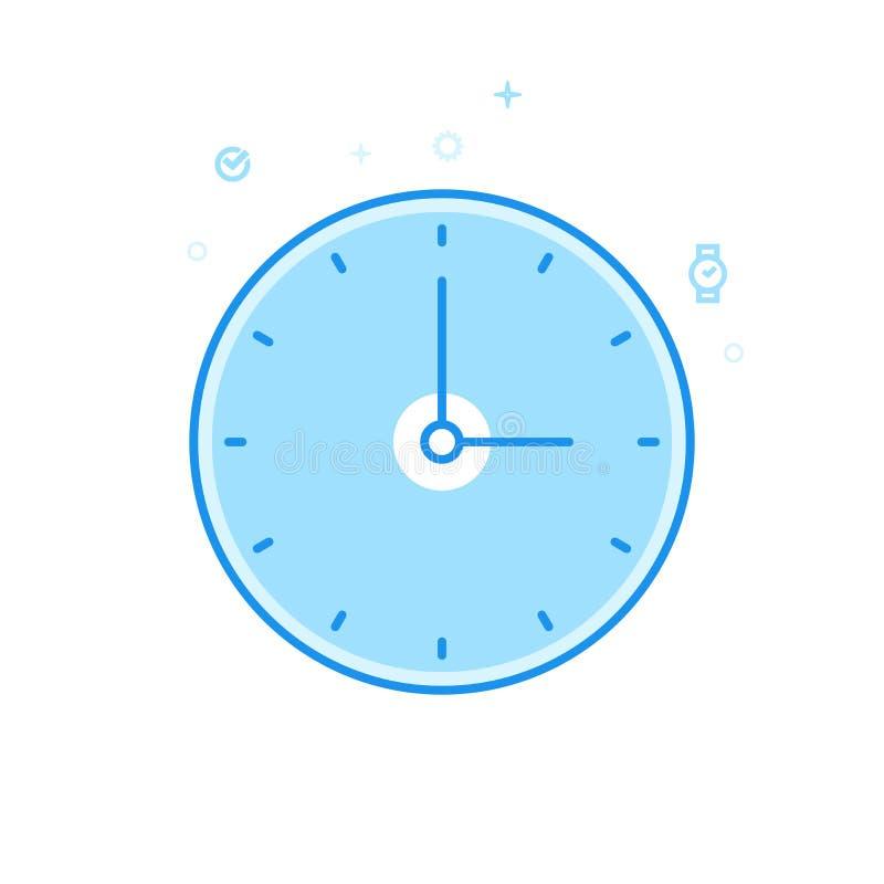 Het ronde Klassieke Vlakke Vectorpictogram van de Muurklok, Symbool, Pictogram, Teken Lichtblauw Zwart-wit Ontwerp Editableslag vector illustratie