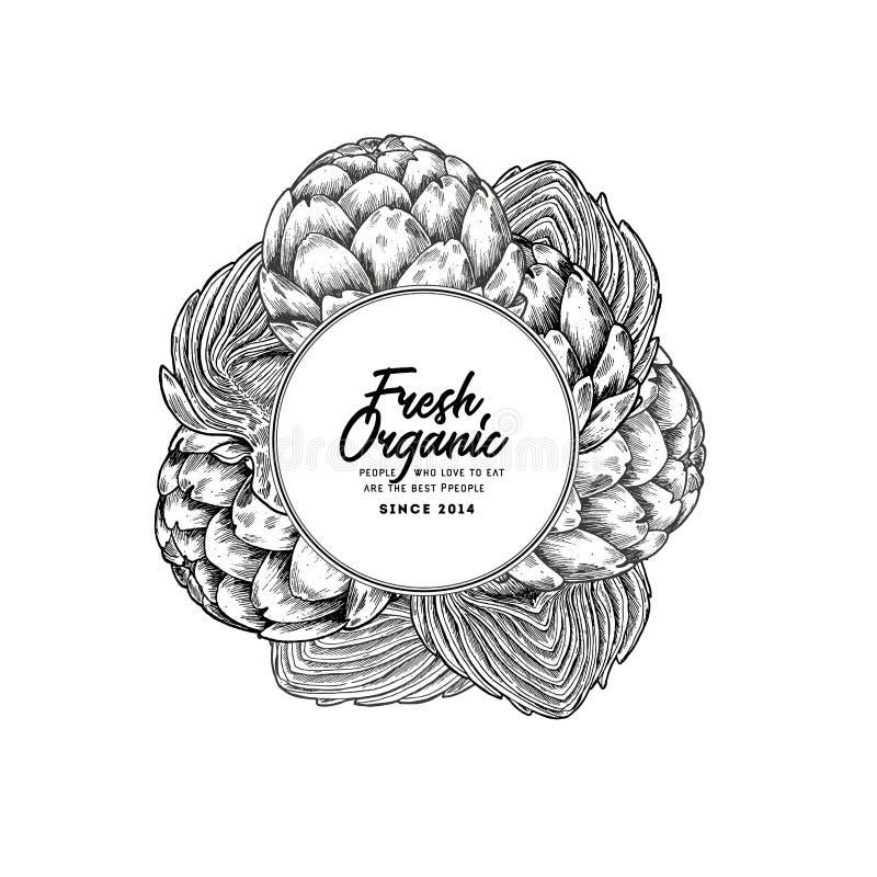 Het ronde malplaatje van het artisjokontwerp Organische groenten Vector illustratie royalty-vrije illustratie
