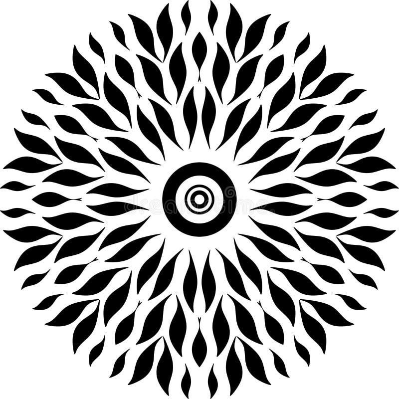 Het ronde ontwerp gaat slechts weg, zwart-witte, ronde ontwerp gezamenlijke bladeren bladeren zoals vissen als sperma in vrouw stock illustratie