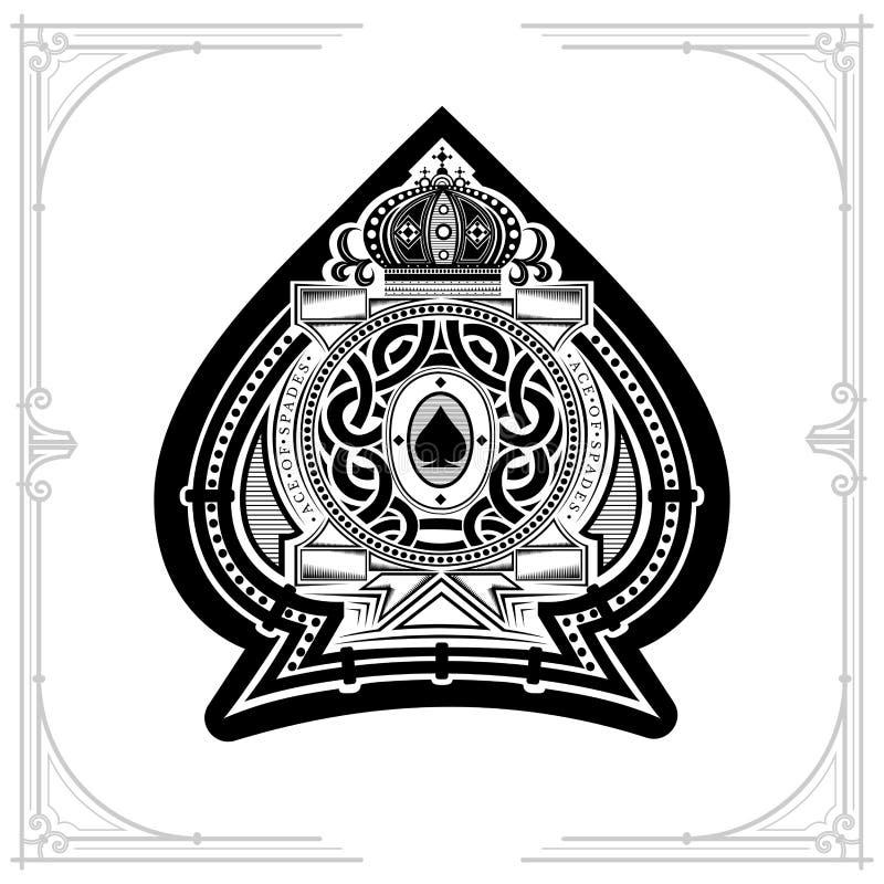 Het ronde patroonschild met kroon en de uitstekende elementen binnen aas van spades vormen zich Mariene ontwerpspeelkaart royalty-vrije illustratie