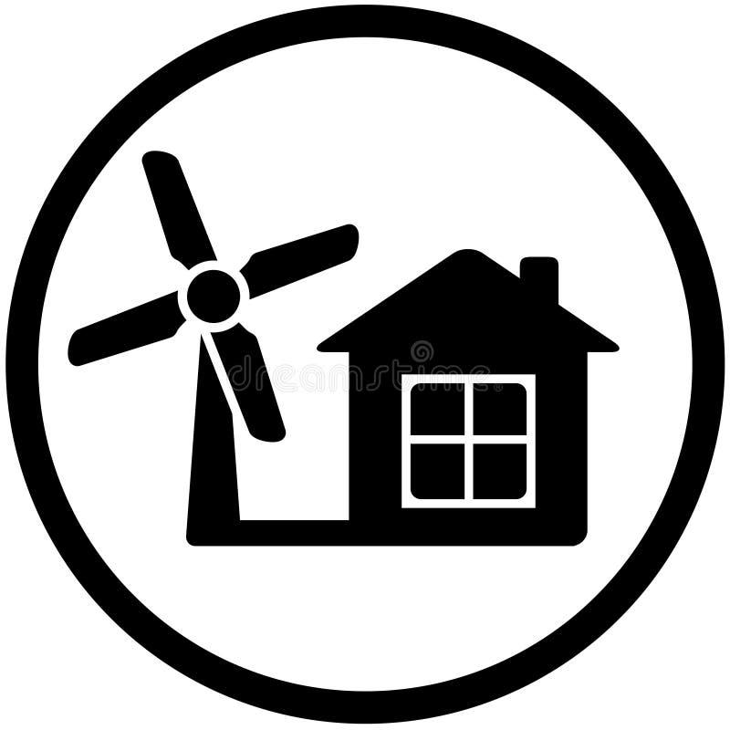 Het ronde pictogram van de windmolen voor huis alternatieve macht royalty-vrije illustratie