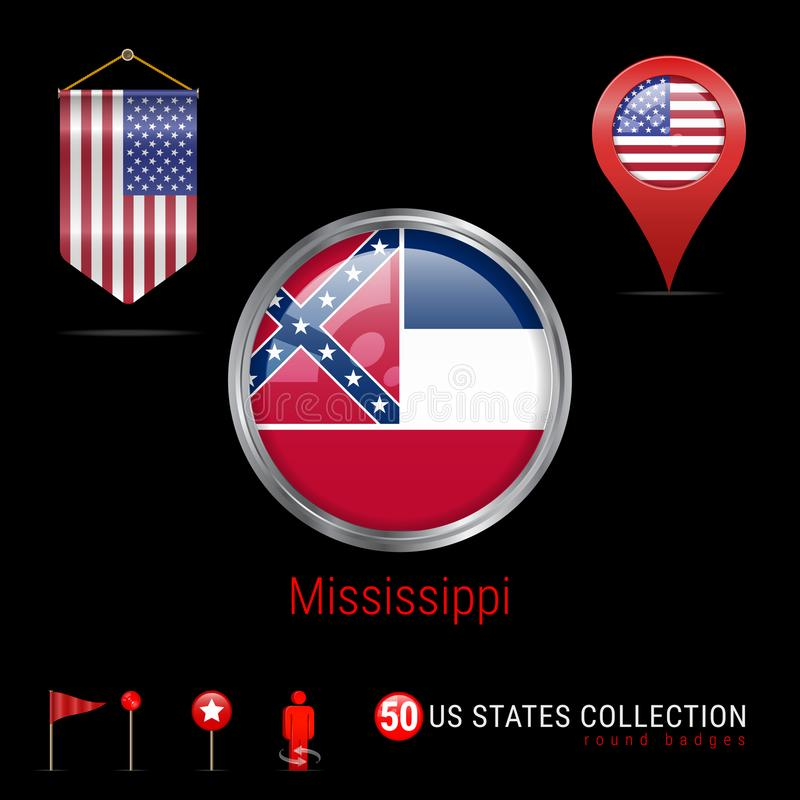 Het ronde Vectorkenteken van Chrome met de Vlag van de Staat van de Mississippi de V.S. Wimpelvlag van de V.S. Kaartwijzer - de V stock illustratie