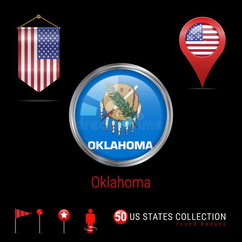 Het ronde Vectorkenteken van Chrome met de Vlag van de Staat van Oklahoma de V.S. Wimpelvlag van de V.S. Kaartwijzer - de V.S. De stock illustratie