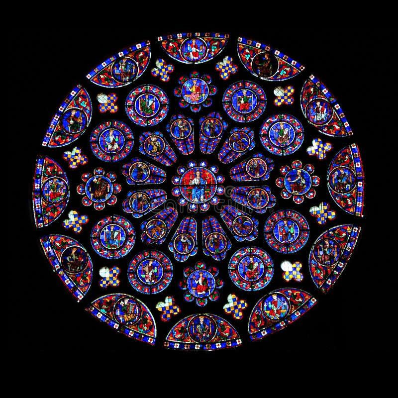 Het ronde Venster van het Gebrandschilderd glas, Chartres stock foto's