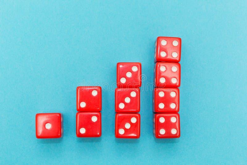 Het rood dobbelt in de vorm van een grafiek, toenemend van één tot vier, op een blauwe achtergrond stock afbeeldingen
