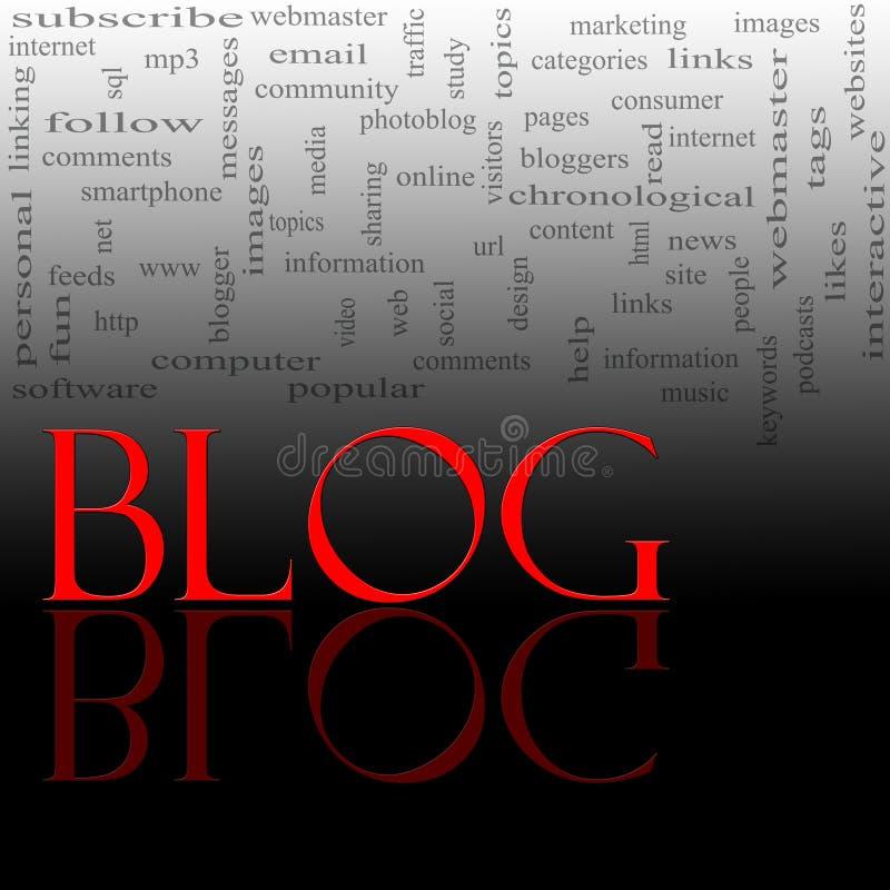 Het Rood en de Zwarte van de Wolk van Word van Blog royalty-vrije illustratie