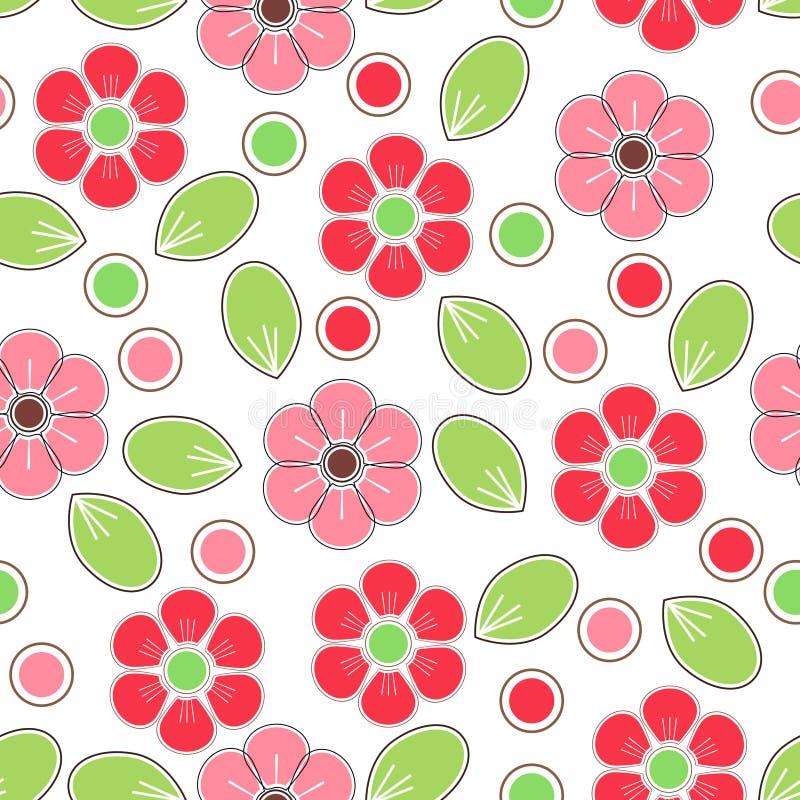 Het rood en het roze watercolored bloemenachtergrond vector illustratie