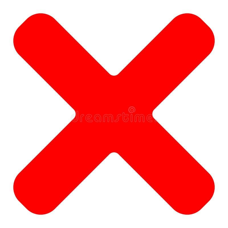 Het rood kruissymbool, pictogram als schrapping, verwijdert, ont*breken-mislukking of incorr stock illustratie