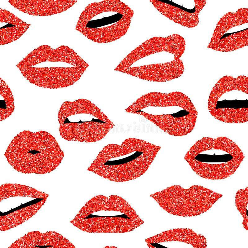 Het rood schittert naadloze het patroonachtergrond van de meisjesmond vector illustratie