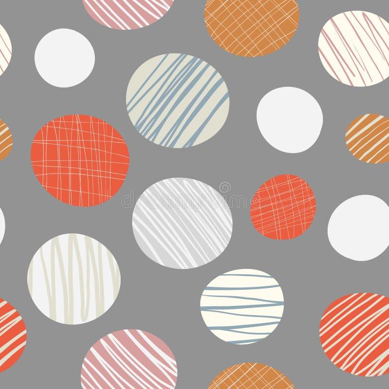 Het rood, sinaasappel, getrokken roomhand omcirkelt naadloos vectorpatroon op neutrale bruine achtergrond Modieus eigentijds ontw vector illustratie