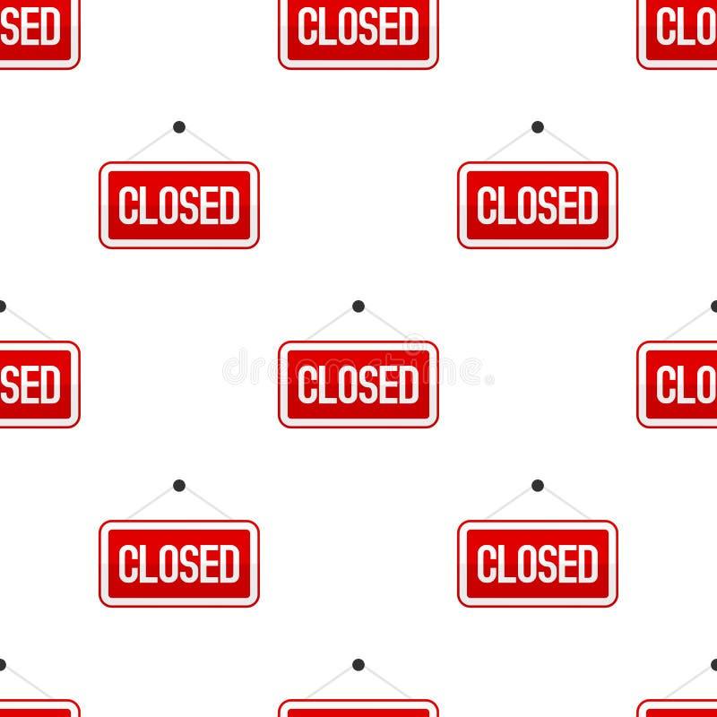 Het rood sloot Vlak Teken Naadloos Patroon stock illustratie