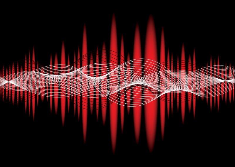 Het rood van de de equalisergolf van de muziek stock illustratie