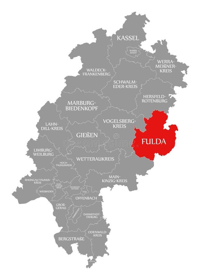 Het rood van de Fuldaprovincie in kaart van Hessen Duitsland wordt benadrukt dat vector illustratie