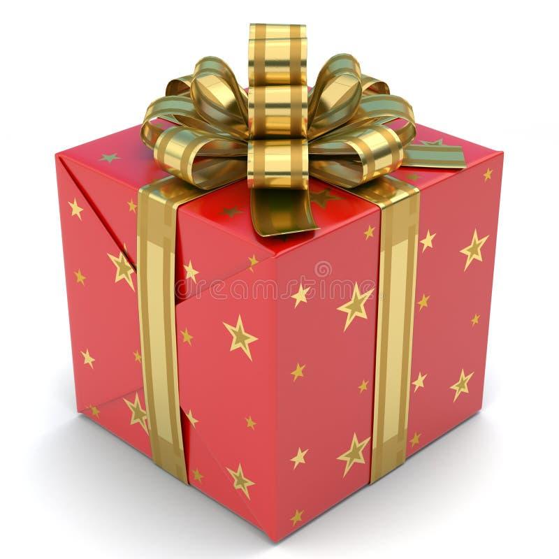 Het Rood van de giftdoos met sterren royalty-vrije stock afbeelding