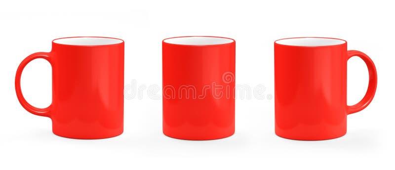 Het rood van de koffiemok op witte achtergrond Mok leeg model stock illustratie
