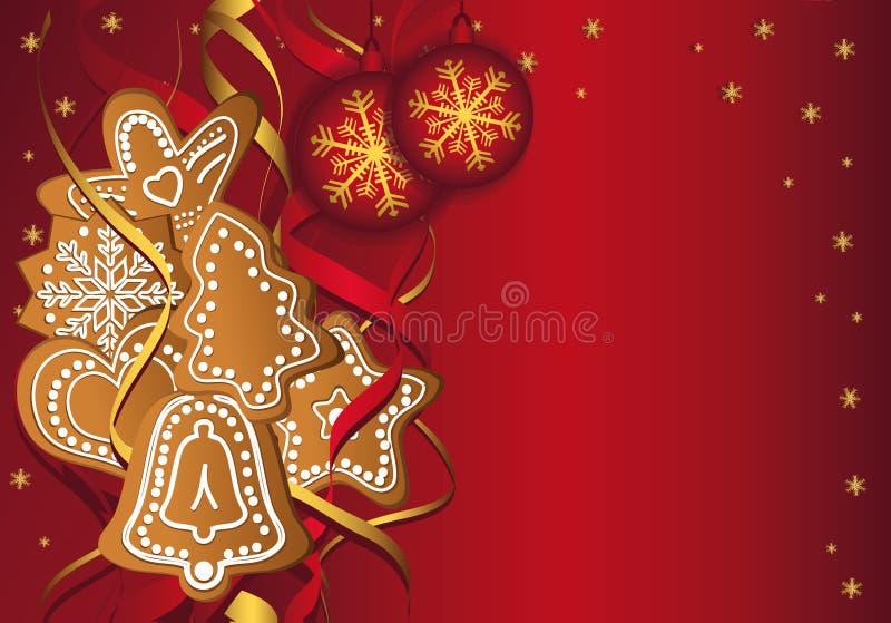 Het Rood van de peperkoekmalplaatjes van Kerstmis vector illustratie