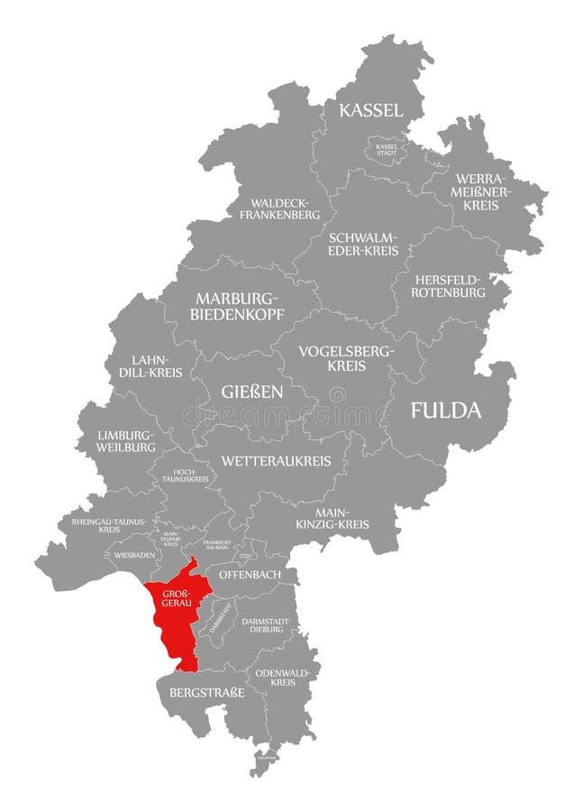 Het rood van de provincie bruto-Gerau in kaart van Hessen Duitsland wordt benadrukt dat vector illustratie