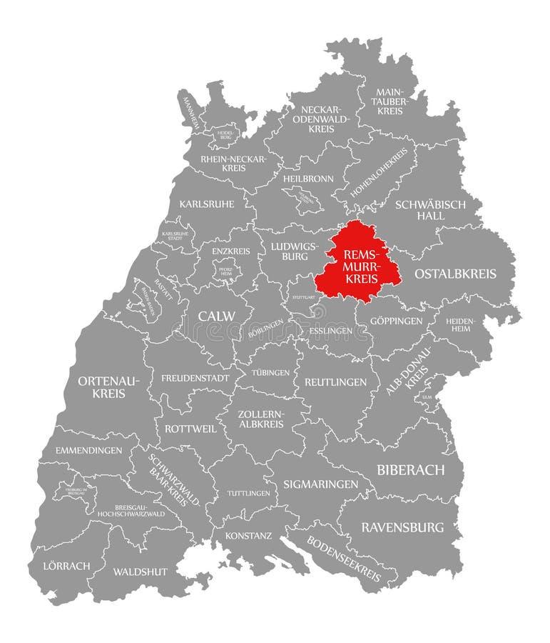 Het rood van de provincie rem-Murr-Kreis dat in kaart van Baden Wuerttemberg Germany wordt benadrukt stock illustratie