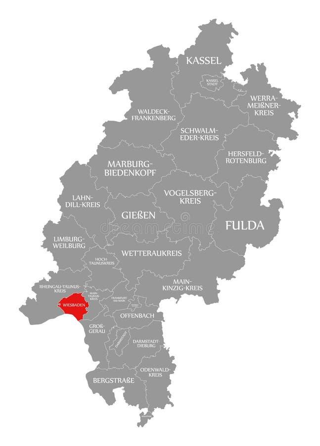 Het rood van de provincie van Wiesbaden dat in kaart van Hessen Duitsland wordt benadrukt vector illustratie