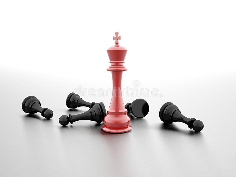 Het rood van de schaakwinnaar royalty-vrije illustratie