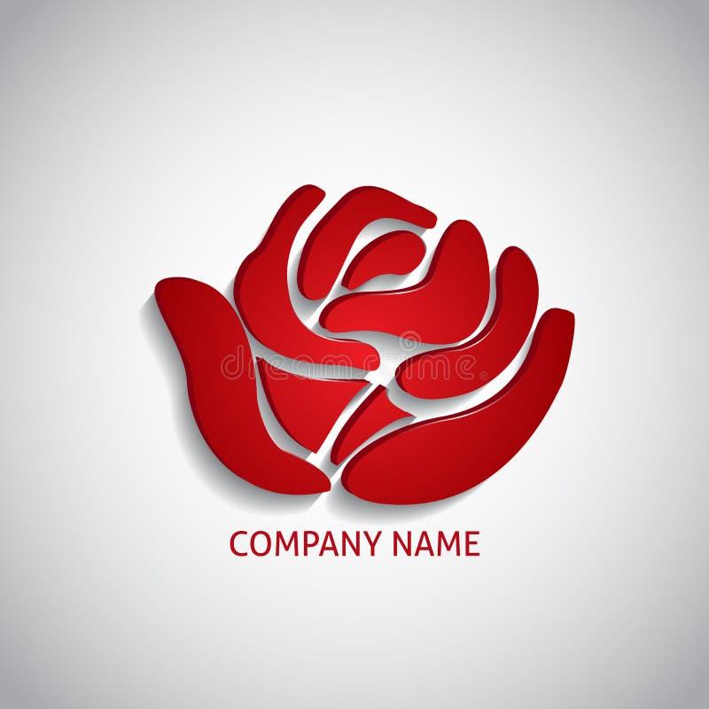 Het rood van het bedrijfembleem nam toe royalty-vrije illustratie