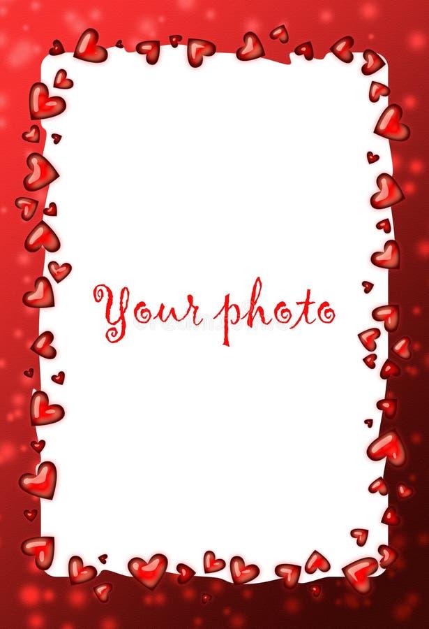 Het rood van het frame met hart, valentijnskaartframe stock illustratie