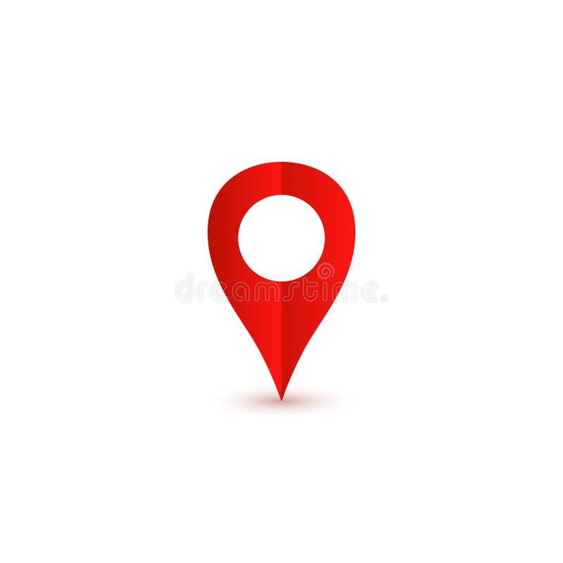 Het rood van het speldpictogram met schaduw Het Pictogram van de plaats royalty-vrije illustratie