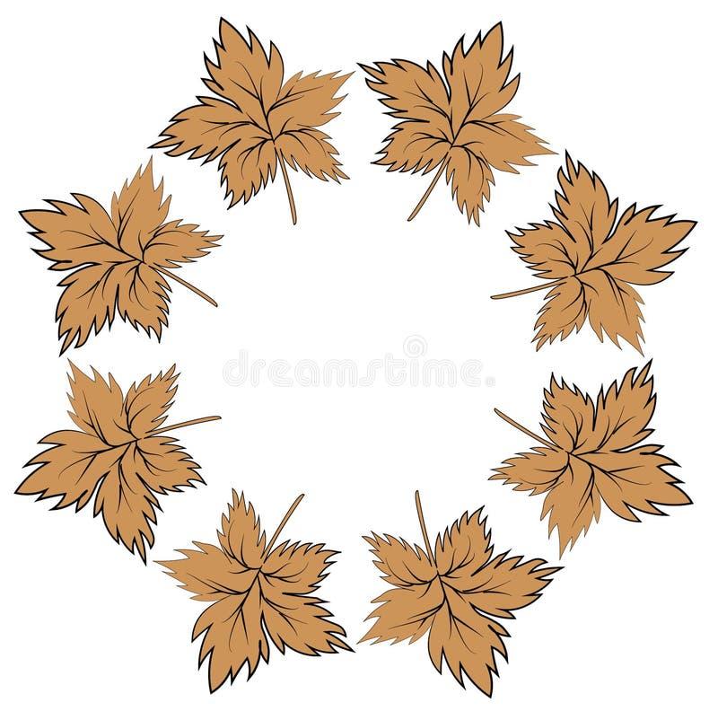 Het rood vijf-fingered bladeren in de vorm van een rond kader De illustratie op het thema - de gouden herfst is gekomen Dalende B royalty-vrije illustratie